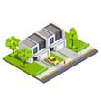 suburban buildings isometric vector image