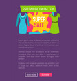 super sale for female clothes of premium quality vector image vector image