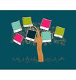 Vintage colors instant photo tree vector image vector image