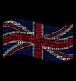 waving british flag pattern of 2019 year texts vector image vector image