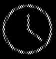 white pixel clock icon vector image vector image