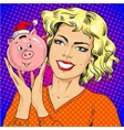 woman holding piggy bank vector image