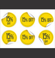 15 percent off yellow paper sale stickers vector image vector image