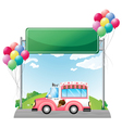 A pink ice cream bus near an empty green board vector image vector image