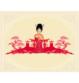 abstract Asian Landscape and beautiful geisha vector image