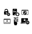 authentication icons set 01 in black and white vector image vector image