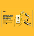 autonomous transport driverless car landing page vector image