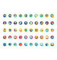 back to school circular icon set pack vector image