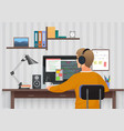 back view of young man wearing headphones sitting vector image vector image