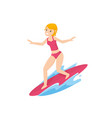 beautiful young girl with surfing board in the sea vector image