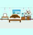bedroom interior flat design relax with bed vector image vector image