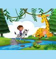 biy riding animal in forest vector image vector image