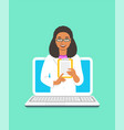 black woman doctor online consultation concept vector image