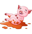 cartoon pig playing a mud puddle vector image vector image