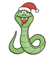 Cartoon snake in a New Years cap vector image