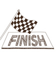 Checkered flag and finish drawing vector image vector image