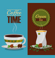 coffee and tea time cups and leaves design vector image vector image