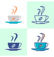 coffee cup icon set in flat and line style vector image