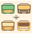 Colorful Retro Radio Set Flat Design vector image vector image