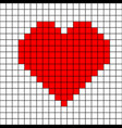 cross-stitch heart pattern mosaic red heart vector image