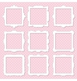 Cute square photo frame set on polka dot vector image vector image