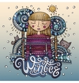 decorative cartoon winter girl postcard vector image vector image
