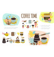 flat coffee time colorful composition vector image