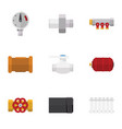 flat icon pipeline set of tube pipe connector vector image vector image