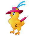 funny cartoon chicken wearing hat with hold a umbr vector image vector image