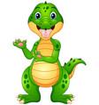 funny crocodile cartoon presenting vector image vector image