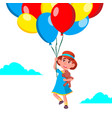 happy child girl flying in the sky on balloons vector image