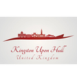 Kingston Upon Hull skyline in red vector image vector image