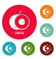 longan icons circle set vector image vector image
