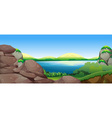 Nature scene with lake and hills vector image vector image