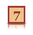 number 7 wooden alphabet block vector image vector image