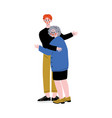 old mother with adult son elderly woman hugging vector image vector image