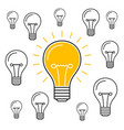 one lit bulb among unlit bulbs new idea business vector image