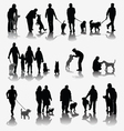 People and dogs vector image vector image
