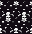 seamless pattern with skull in sombrero and vector image vector image