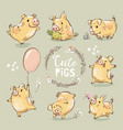 set cute tiny yellow pig in different poses vector image vector image