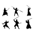 set of samurai warriors silhouette on white vector image vector image