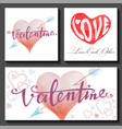 set of valentines day cards with hearts and arrows vector image vector image