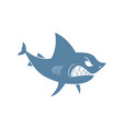 shark isolated marine predator on white background vector image vector image