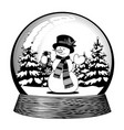 snow globe with a snowman in scarf and hat vector image vector image