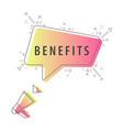 speaker and slogan benefits vector image vector image