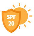 spf 20 uv logo flat style vector image vector image