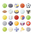 sports balls flat icons set vector image
