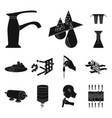 water filtration system black icons in set vector image vector image