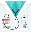 white doctors suit with pills and medical devices vector image vector image