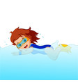 young woman snorkeling vector image vector image
